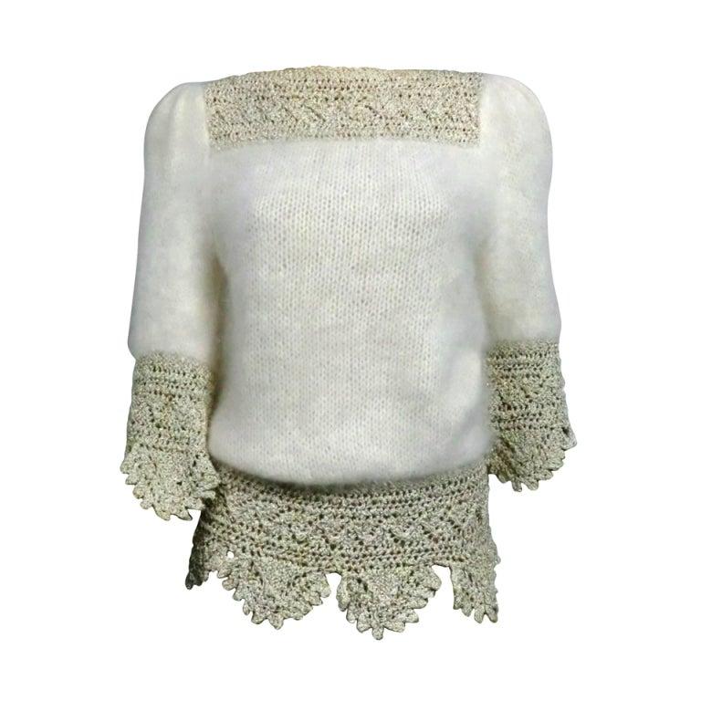 70s Angora, Wool and Lurex Knit and Crochet Sweater 1
