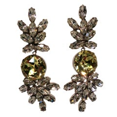 Scaasi Chandelier Rhinestone Earrings with Canary Yellow Center