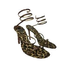 Rene Caovilla Rhinestone Strappy Sandals w/ Leopard Footbed