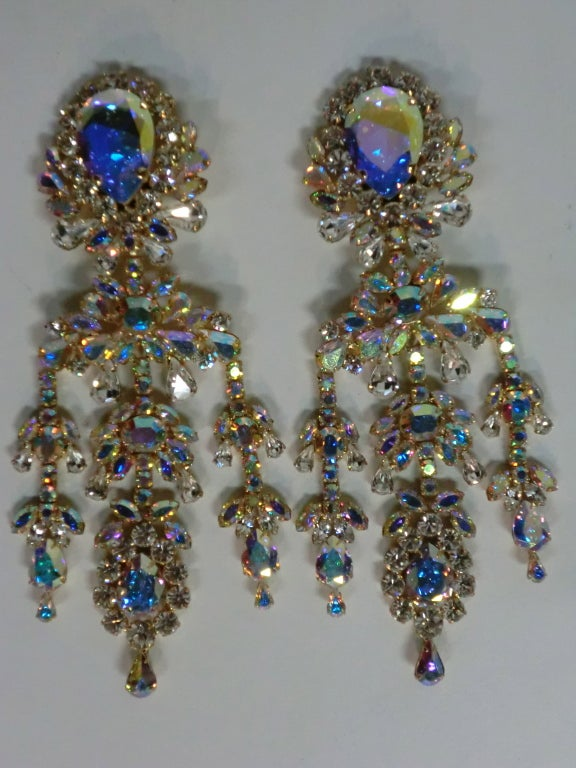 Outrageous 80s aurora borealis chandelier rhinestone earrings at 1stdibs womens outrageous 80s aurora borealis chandelier rhinestone earrings for sale mozeypictures Choice Image