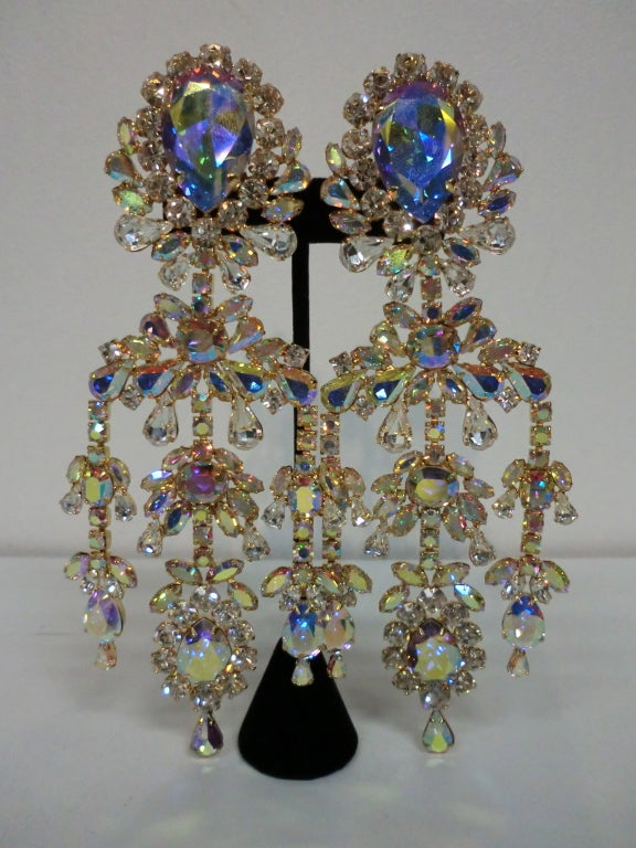 Outrageous 80s Aurora Borealis Chandelier Rhinestone Earrings at ...