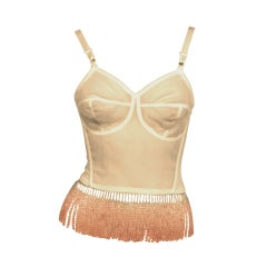 """My Bare Lady"" Bustier with Cut Rose Quartz Crystal Fringe"