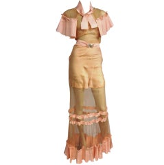 30s Sheer Tulle and Ruffled Gown or Negligee