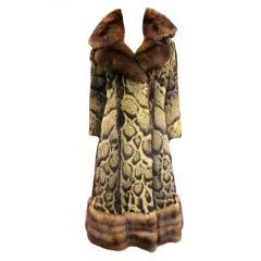 James Galanos Civet Fur Princess Coat w/ Luxurious Sable Trim