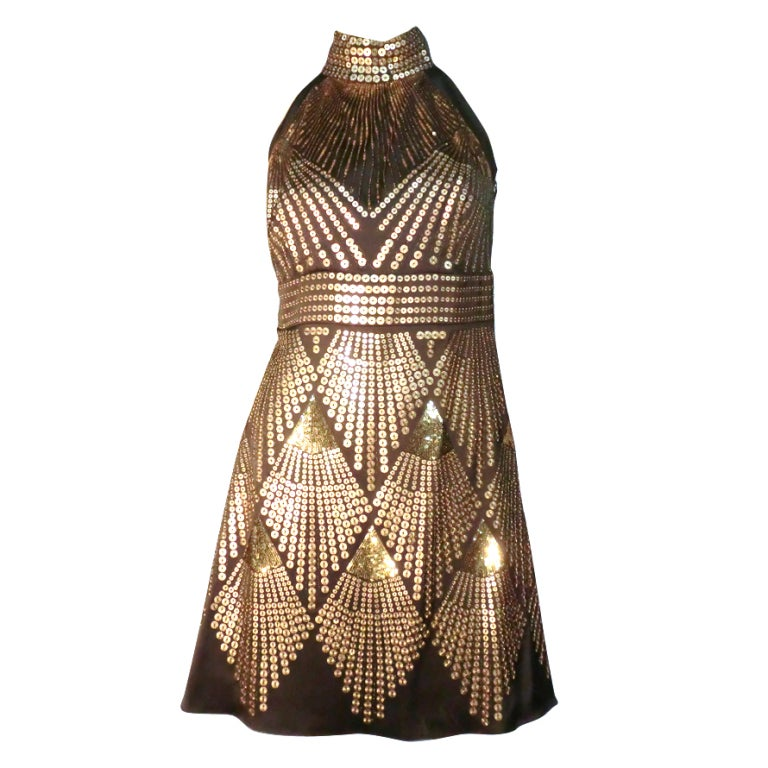 Fendi egyptian inspired sequin halter mini dress at 1stdibs for Costume jewelry for evening gowns