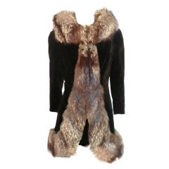Incredible House of Worth Couture Velvet Evening Coat w/ Fox