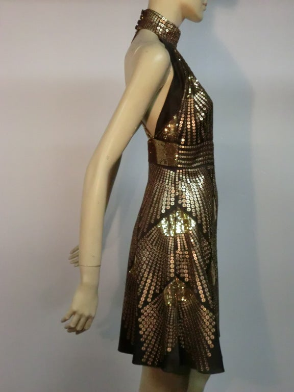 Fendi egyptian inspired sequin halter mini dress image 2 for Costume jewelry for evening gowns
