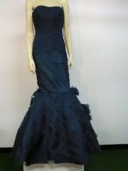Vera Wang Teal Silk Chiffon Couture Gown w/ Elaborate Fishtail