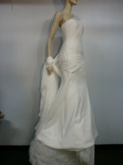 Vera Wang Couture Silk  Ruched Column Wedding Gown