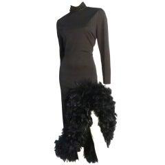 Lilli Diamond Black Jersey Dress w/ Turkey Feather Hem
