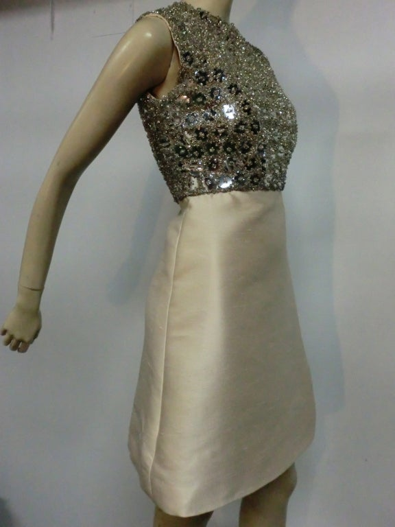 "Gray 60s Ivory Shantung Dress with Fitted Capelet and ""Mirror"" Bodice For Sale"
