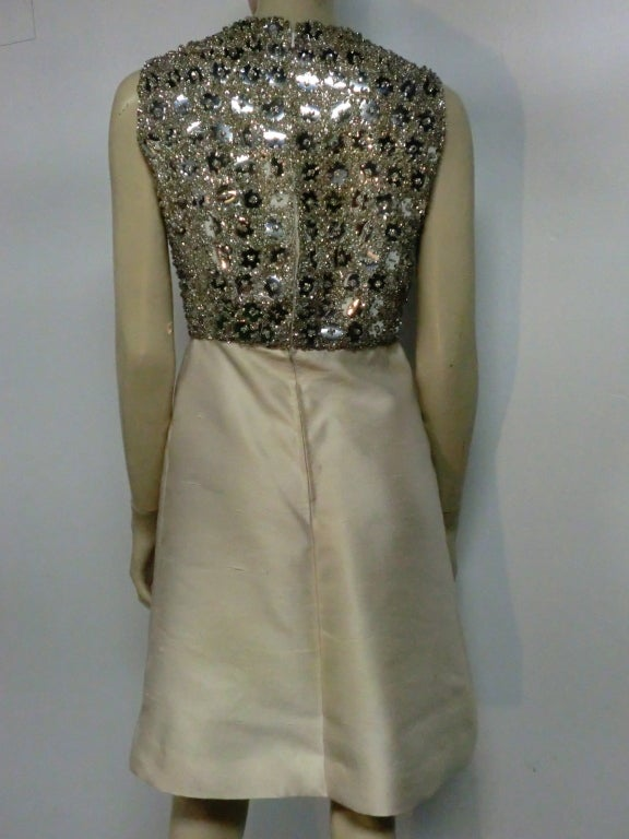 "Women's 60s Ivory Shantung Dress with Fitted Capelet and ""Mirror"" Bodice For Sale"
