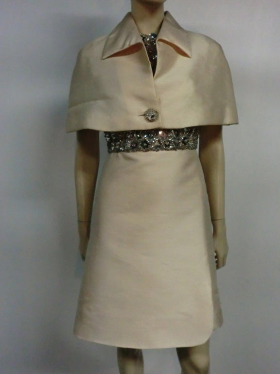 "60s Ivory Shantung Dress with Fitted Capelet and ""Mirror"" Bodice For Sale 2"