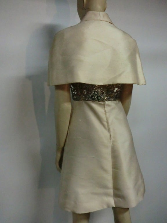 "60s Ivory Shantung Dress with Fitted Capelet and ""Mirror"" Bodice For Sale 3"