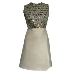 """60s Ivory Shantung Dress with Fitted Capelet and """"Mirror"""" Bodice"""
