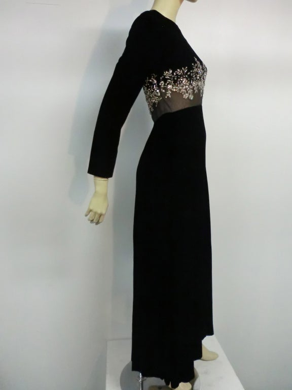 60s Malcolm Starr Gown with Illusion and Rhinestone Bodice 3