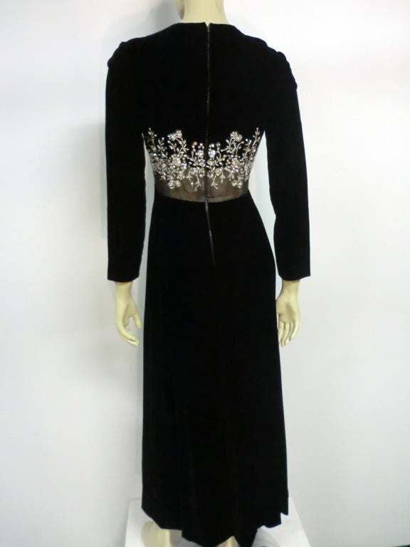 Women's 60s Malcolm Starr Gown with Illusion and Rhinestone Bodice For Sale