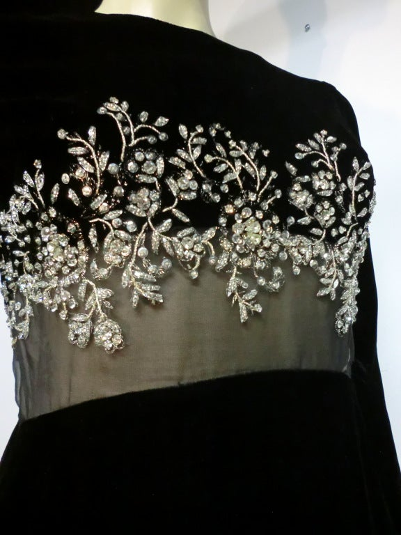 60s Malcolm Starr Gown with Illusion and Rhinestone Bodice For Sale 1