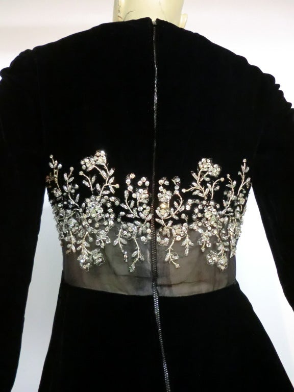 60s Malcolm Starr Gown with Illusion and Rhinestone Bodice For Sale 2