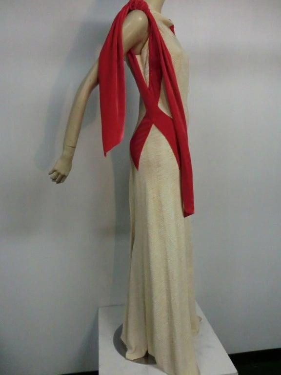 Germaine Monteil Couture 30's Bias Silk Slub Crepe Gown 3