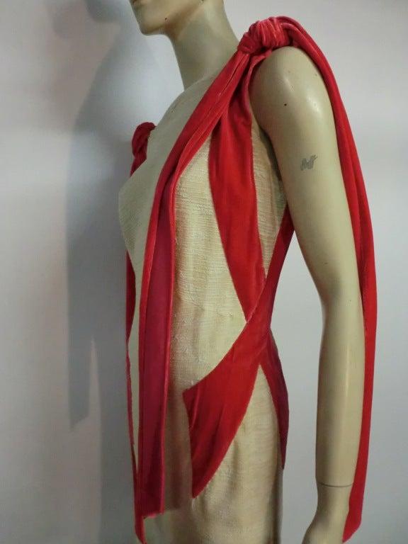 Germaine Monteil Couture 30's Bias Silk Slub Crepe Gown 4