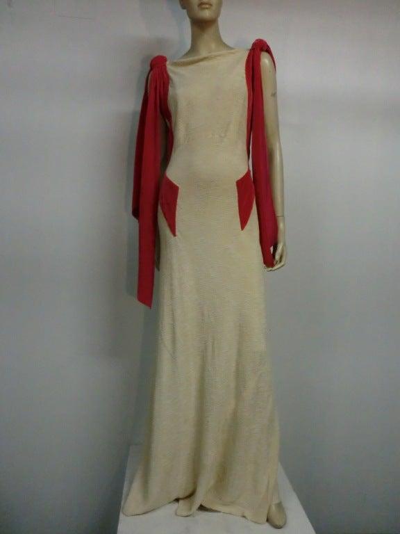 Germaine Monteil Couture 30's Bias Silk Slub Crepe Gown 2