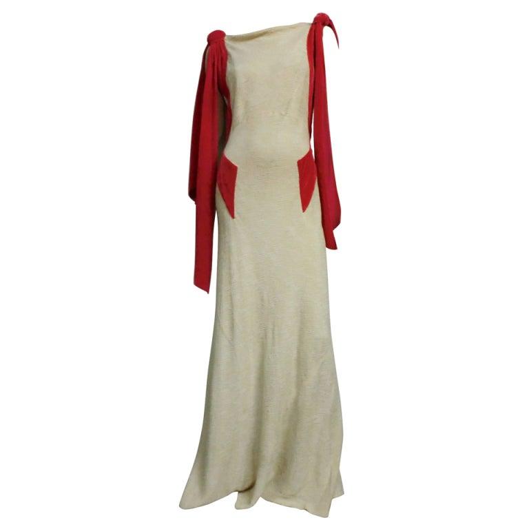 Germaine Monteil Couture 30's Bias Silk Slub Crepe Gown 1