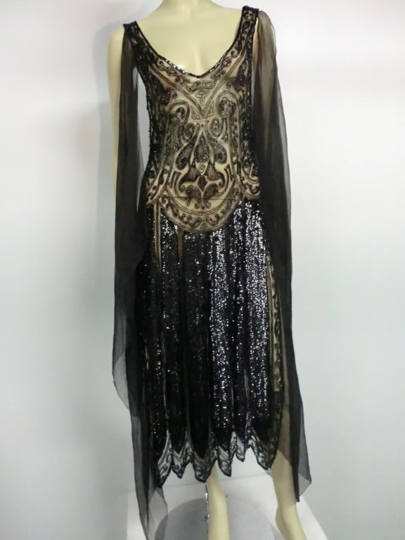 Divine French 1920s Silk Chiffon Beaded/Sequined Evening Dress 2