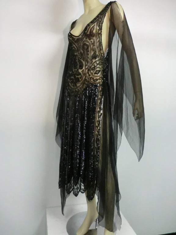 Divine French 1920s Silk Chiffon Beaded/Sequined Evening Dress 3