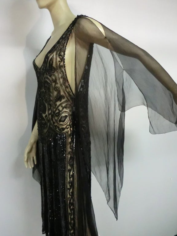 Divine French 1920s Silk Chiffon Beaded/Sequined Evening Dress 6