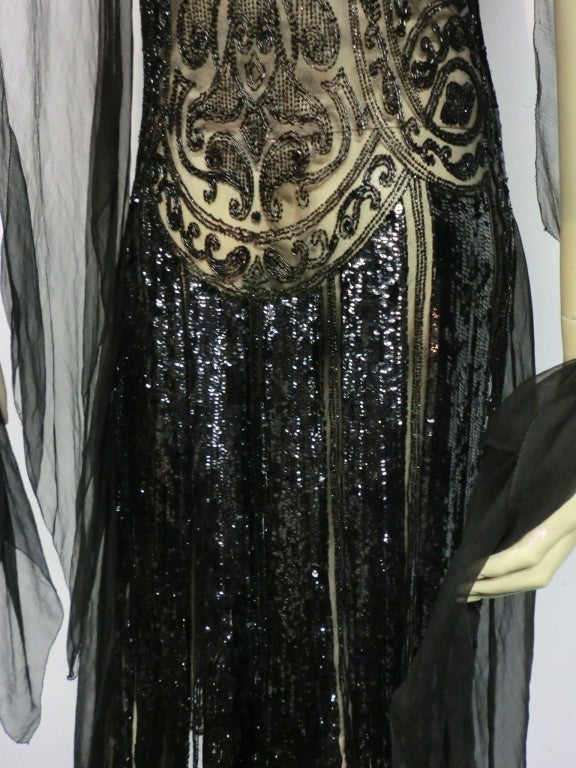 Divine French 1920s Silk Chiffon Beaded/Sequined Evening Dress 7