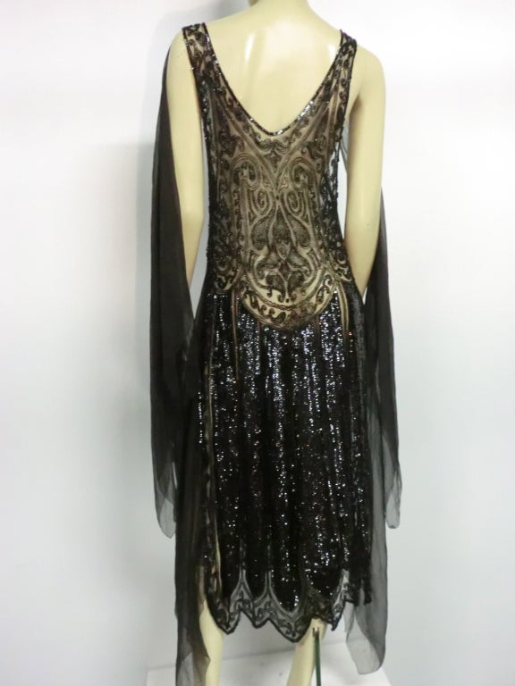 Divine French 1920s Silk Chiffon Beaded/Sequined Evening Dress 8