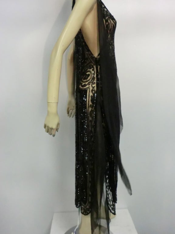Divine French 1920s Silk Chiffon Beaded/Sequined Evening Dress 9