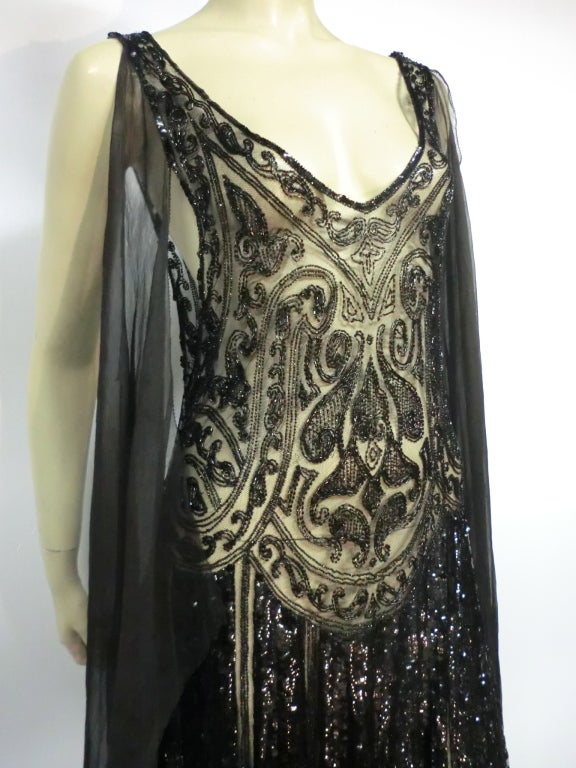 Divine French 1920s Silk Chiffon Beaded/Sequined Evening Dress 10