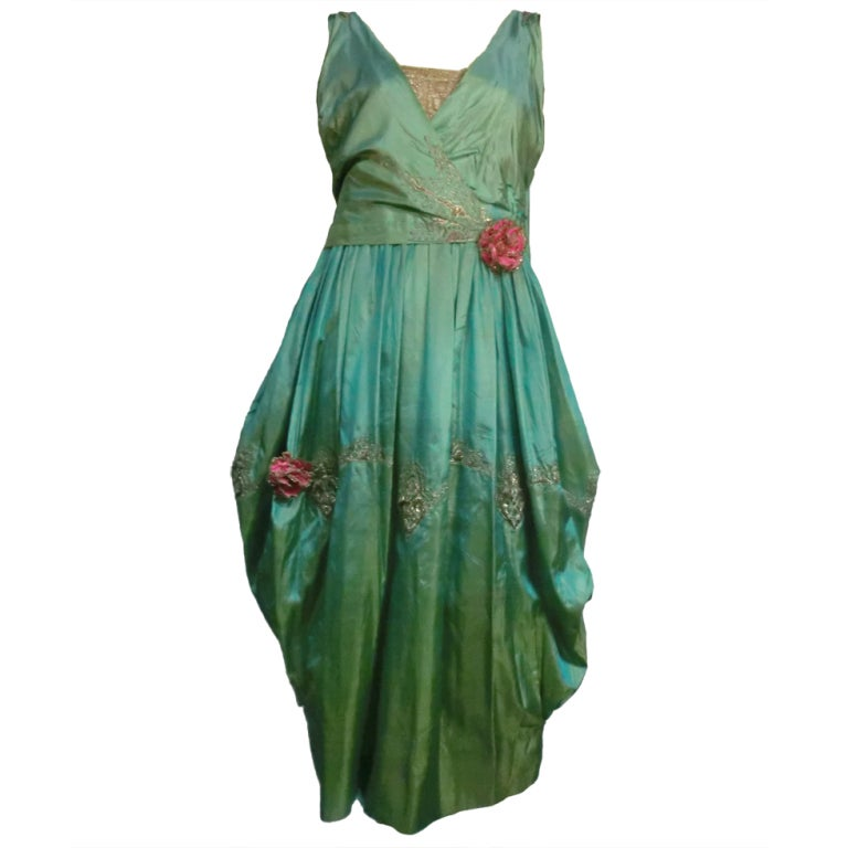 """Paul Poiret Style"" Teens Evening Dress w/ Cascading Train 1"