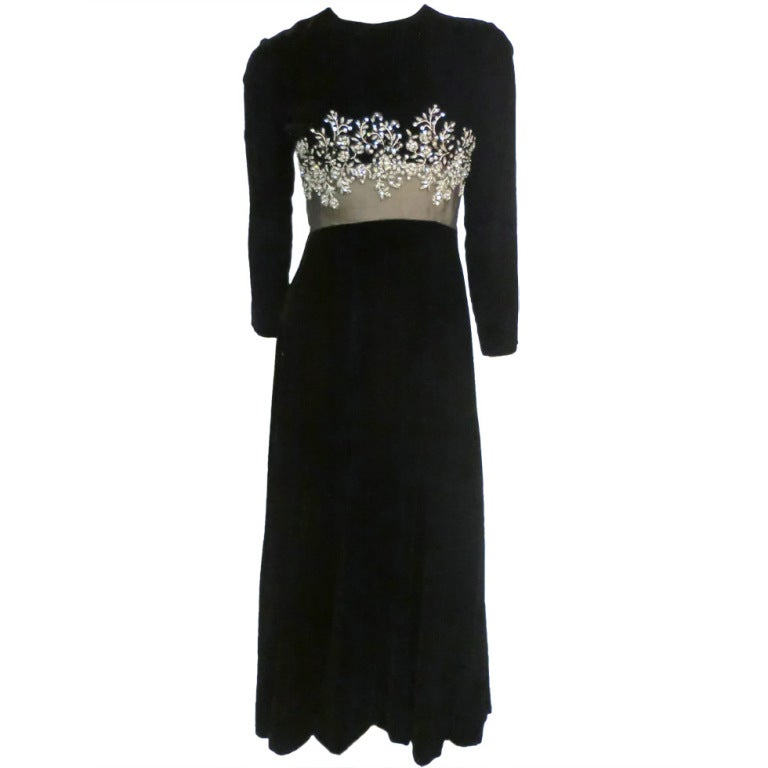 60s Malcolm Starr Gown with Illusion and Rhinestone Bodice For Sale