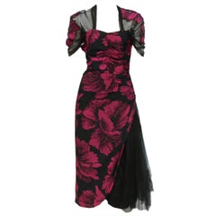40s Hibiscus Print Cocktail Dress w/ Tulle Swag and Capelet