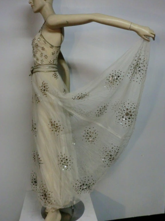 Women's 1930s Bergdorf Goodman Silk Tulle, Sequin and Lamé For Sale