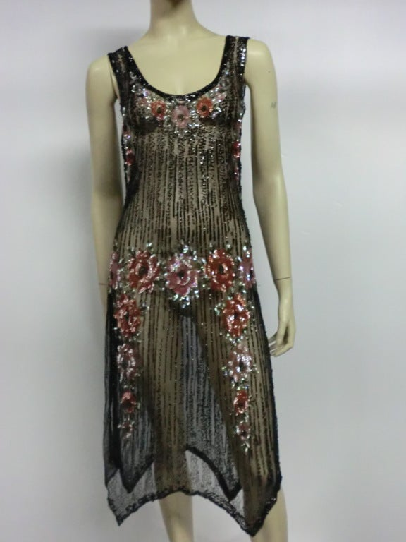 1920s Beaded Tulle Evening Dress with Sequin Floral Garlands 2