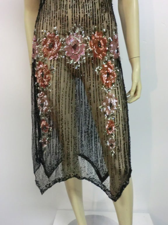 1920s Beaded Tulle Evening Dress with Sequin Floral Garlands 3
