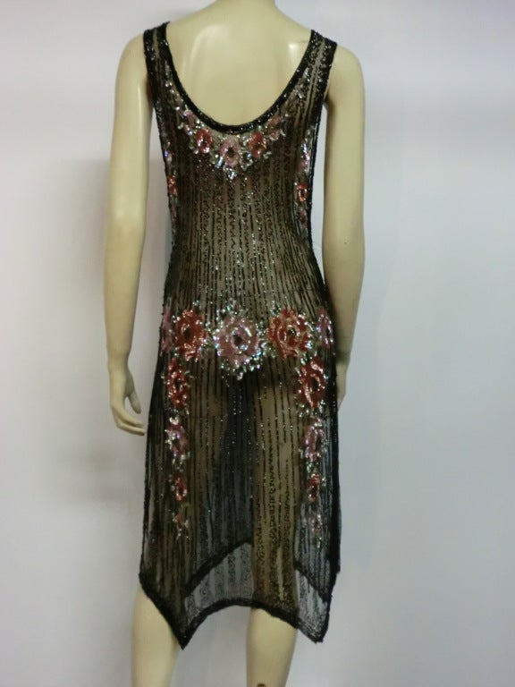1920s Beaded Tulle Evening Dress with Sequin Floral Garlands 4