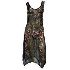 1920s Beaded Tulle Evening Dress with Sequin Floral Garlands