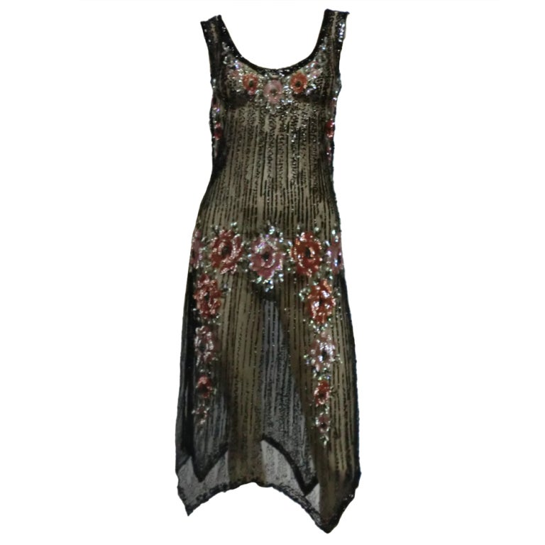 1920s Beaded Tulle Evening Dress with Sequin Floral Garlands 1