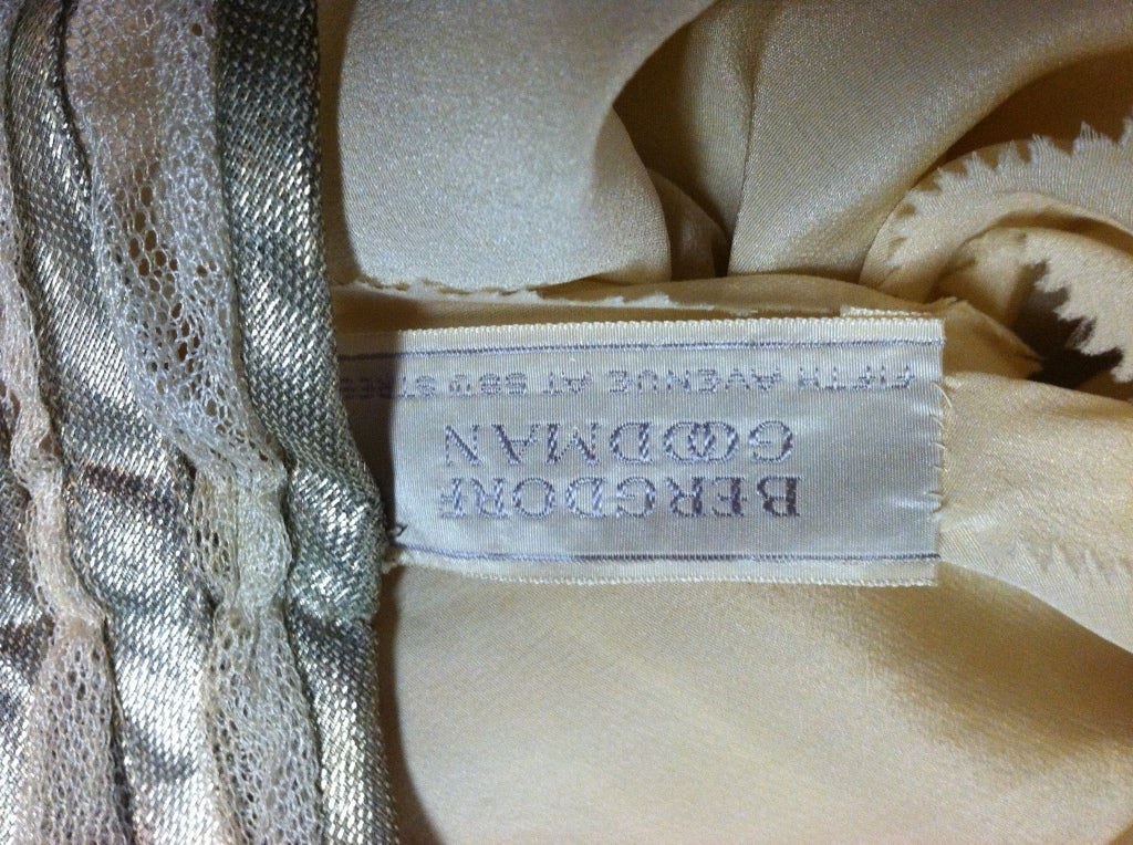 1930s Bergdorf Goodman Silk Tulle, Sequin and Lamé For Sale 2