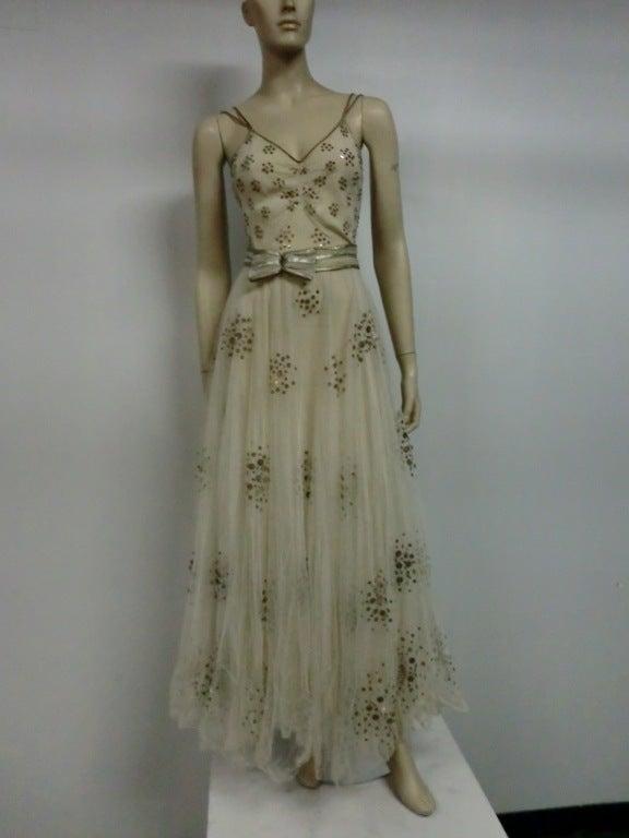 1930s Bergdorf Goodman Silk Tulle, Sequin and Lamé 2