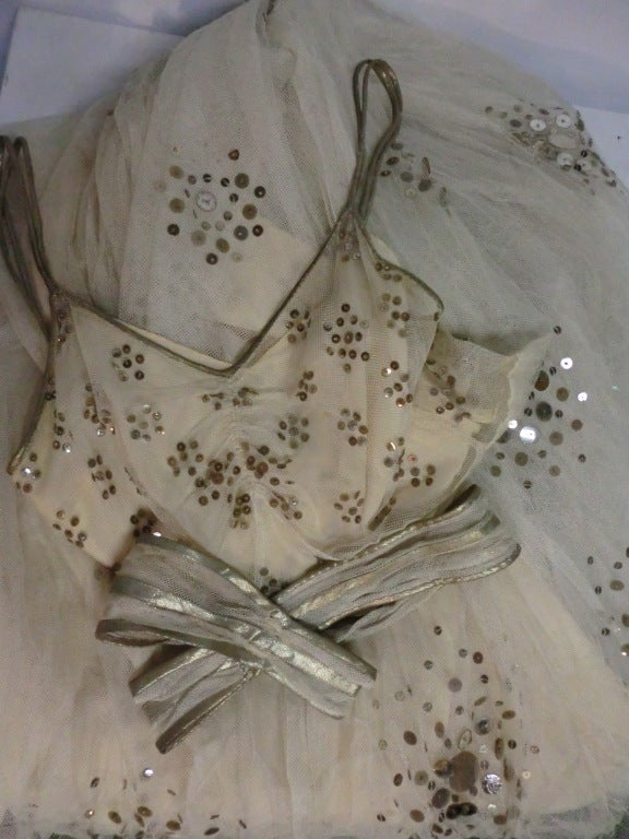 1930s Bergdorf Goodman Silk Tulle, Sequin and Lamé For Sale 3