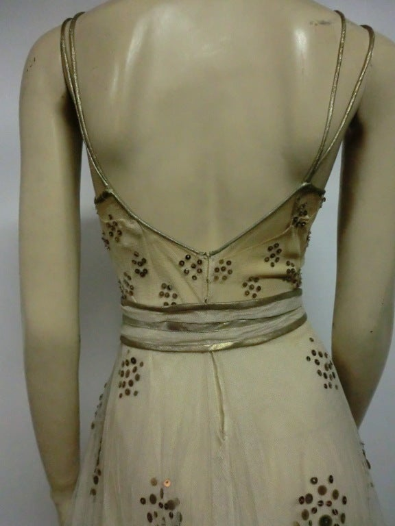 1930s Bergdorf Goodman Silk Tulle, Sequin and Lamé For Sale 4