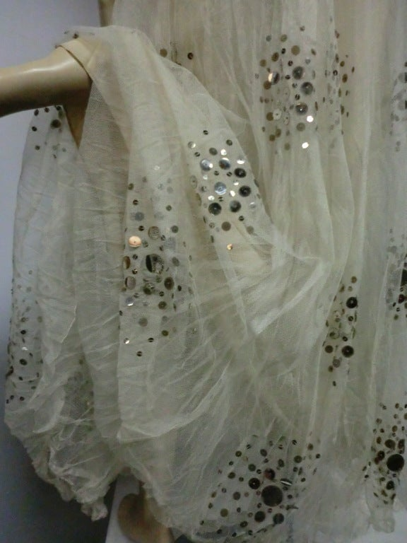 1930s Bergdorf Goodman Silk Tulle, Sequin and Lamé For Sale 6