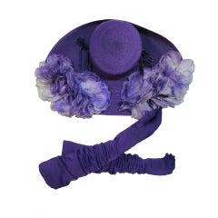 Leslie James Large Purple Oval Straw Hat Trimmed w/ Flowers