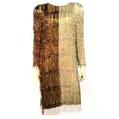 Bill Blass 70s Two-Tone Bead Fringe Tunic Dress